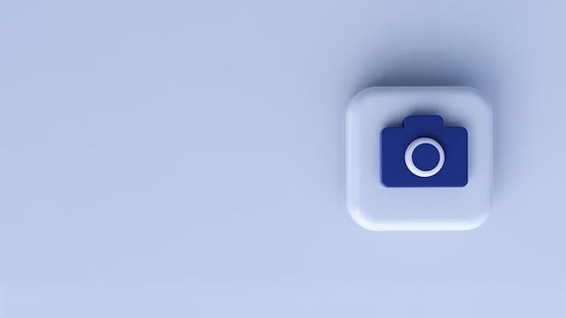 흰색 배경 가진 아이콘 블루 카메라입니다. 3d 렌더링