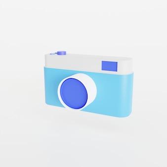 Icon camera on white background. 3d render illustration