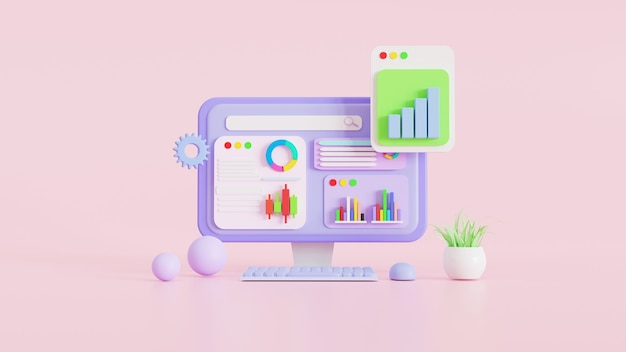 Icon, data analytics, graphs dashboard, bitcoins digital cryptocurrency and business finance report. investment or  stock market website seo concept. 3d illustrations.