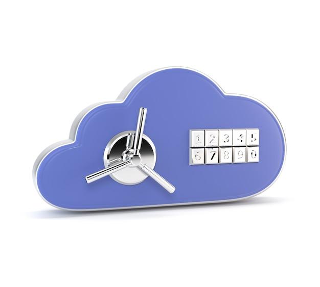 Icon a database of combination lock isolated on white background. safe. 3d illustration.