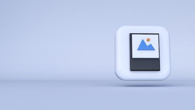 흰색 배경으로 아이콘 갤러리입니다. 3d 렌더링