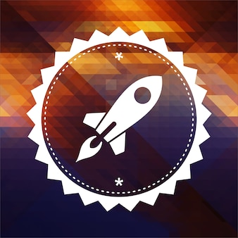 Icon of go up rocket. retro label design. hipster background made of triangles, color flow effect.