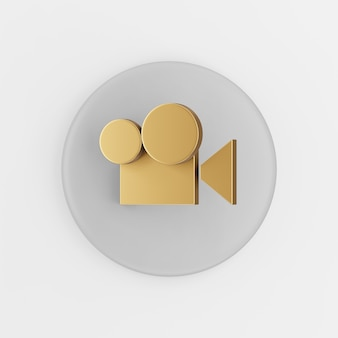 Icon gold digital video camera flat outline. 3d rendering round gray key button, interface ui ux element.
