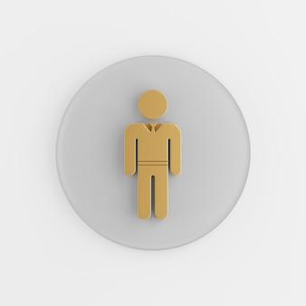Значок золотой человек в костюме плоский силуэт. 3d-рендеринг круглой серой ключевой кнопки, элемента ui интерфейса ux.