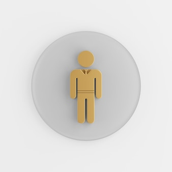 Icon golden man in suit flat silhouette. 3d rendering round gray key button, interface ui ux element.