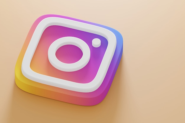Icon instagram 3d render close up on a yellow background. account promotion template.