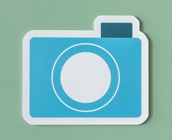 青い紙のカメラのアイコン