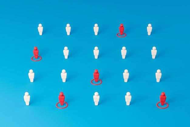 多くの人が水色の壁の上に立っており、ウイルスの蔓延を防ぐために社会的距離を置いているアイコン。社会的距離の概念。 3dレンダリング。
