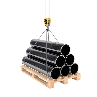Icon pipe on a pallet with a crane hook isolated on white background. 3d illustration.