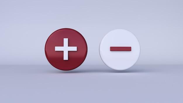 Значок плюс и минус с белым фоном. 3d рендеринг