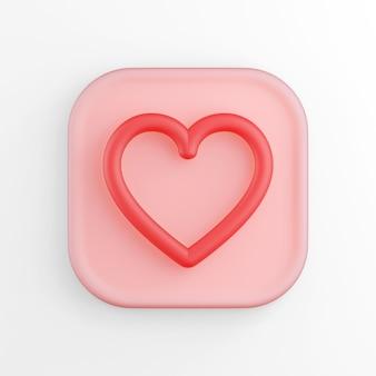 아이콘 레드 심장 등고선, 분홍색 사각형 버튼. 3d 렌더링.
