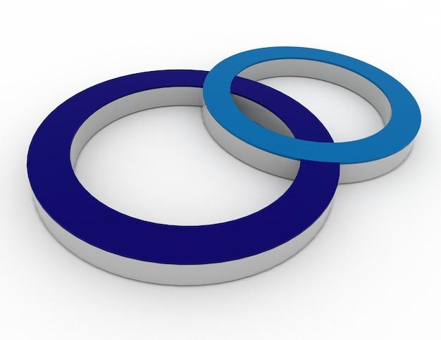 Значок, два круга, синий и черный, 3d визуализация