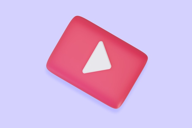 Icon video player video audio 3d rendering