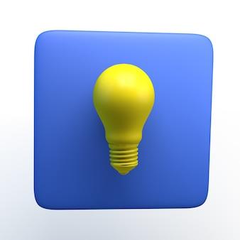 孤立した白い背景の上の電球とアイコン。 3dイラスト。アプリ。