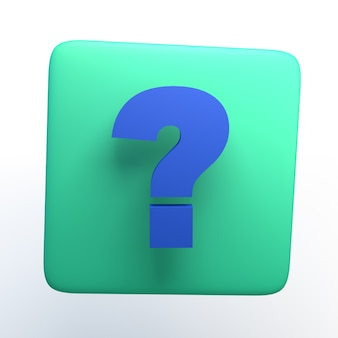 Icon with question mark on isolated white background. 3d illustration. app.