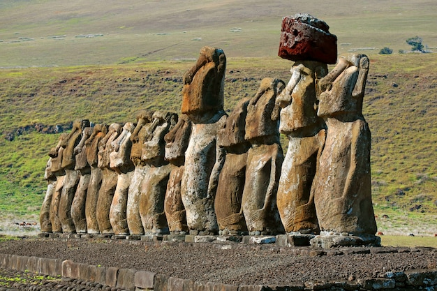 The iconic fifteen moai statues of ahu tongariki ceremonial platform, easter island, chile