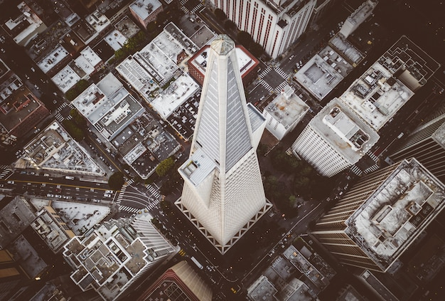 Iconic transamerica pyramid building in san francisco downtown
