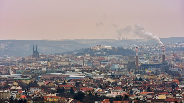 The icons of the brno city's ancient churches, castles spilberk and petrov. czech republic- europe.