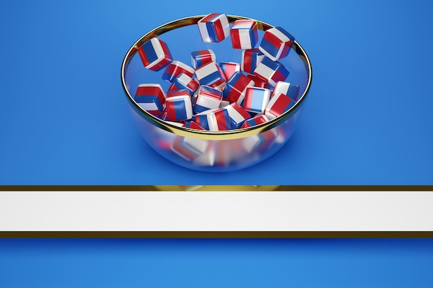 Icubes with the image of the national flag of russia Premium Photo