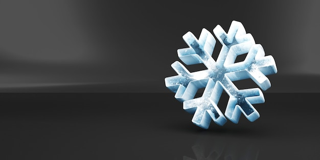 Icy snowflake icon on black studio background