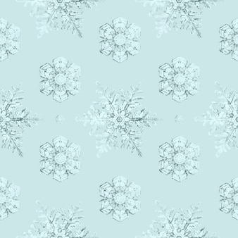 Icy snowflake seamless pattern background remix of photography by wilson bentley