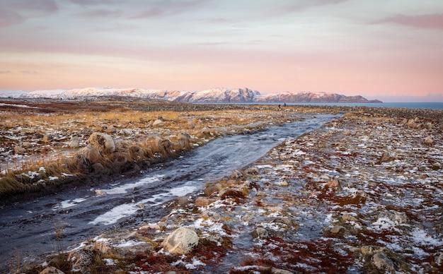 툰드라 언덕을 통과하는 얼음 겨울 도로