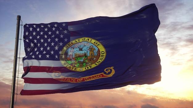 깃대에 아이다 호와 미국 국기입니다. 미국 및 아이다 호 혼합 플랙 손 흔드는 바람