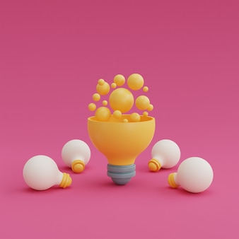 분홍색 배경에 전구 아이디어와 창의성 개념