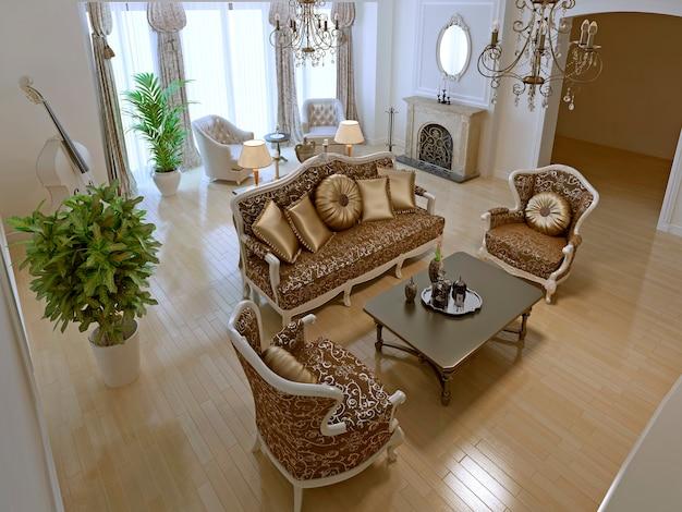 Idea of art deco living room