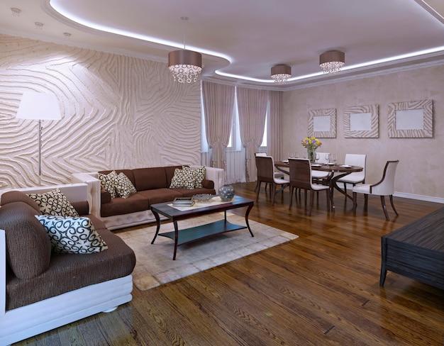 Idea of avant garde living room with ikea furniture set. 3d render