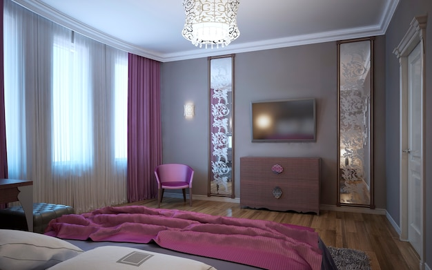 Idea of bedroom for youth in fusion style
