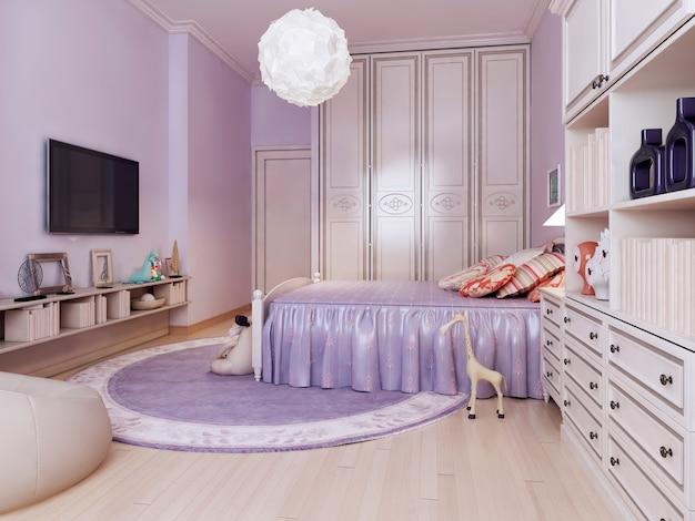 Idea of bright bedroom for girls with purple walls and medium tone hardwood floors.