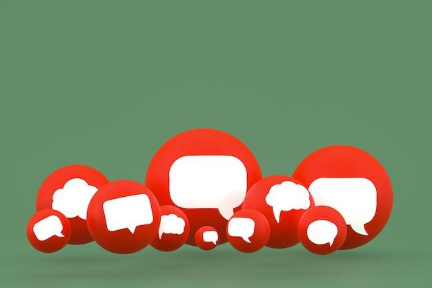아이디어 댓글 또는 생각 반응 이모티콘 3d 렌더링, 댓글 아이콘 패턴 배경으로 소셜 미디어 풍선 기호
