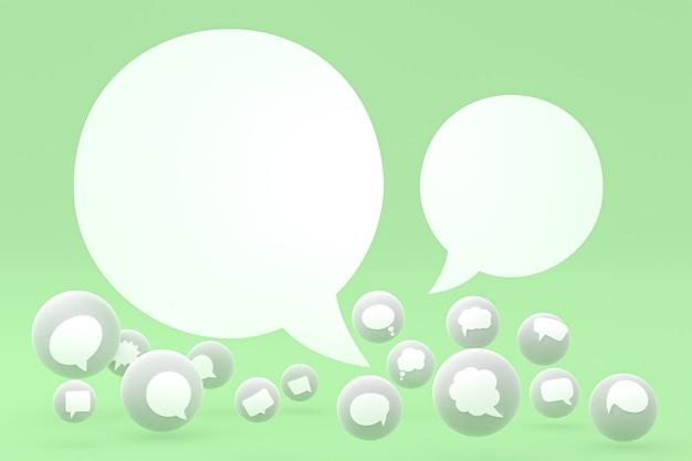 アイデアコメントまたは思考反応絵文字3dレンダリング、コメントアイコンパターンの背景を持つソーシャルメディアバルーンシンボル