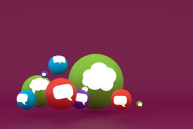 Идея комментирует или думает, реакции смайликов 3d визуализации, символ воздушного шара в социальных сетях с фоном шаблона значков комментариев