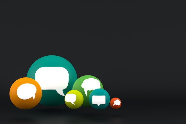 Idea comment or think reactions emoji 3d render,social media balloon symbol with comment icons pattern background