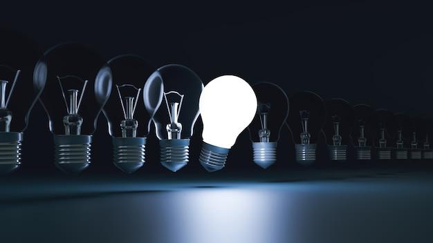 Idea concept and light bulb that iluminate