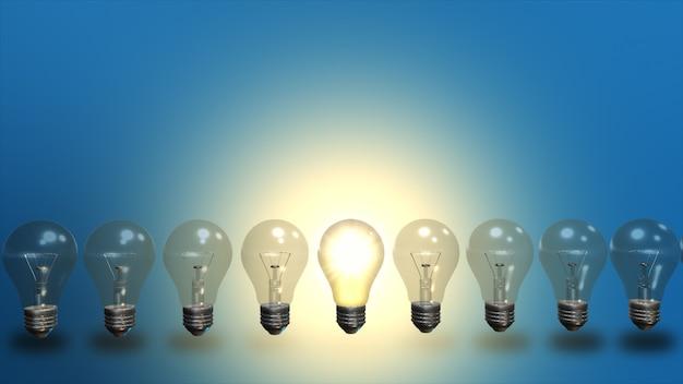 아이디어 개념. 전구 및 led 전구와 행입니다. 3d 일러스트