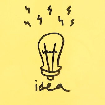 Idea concept with hand drawn light bulb on yellow background