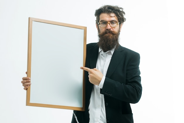 Idea copy space concept handsome professor holding teacher board isolated on white