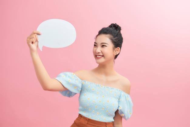 Idea and creativity concept. girl cute with speech bubble.