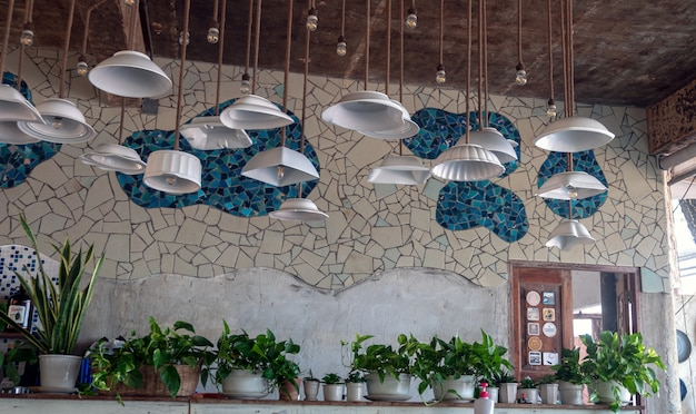 Idea design ceiling lamp modify from bowl with ceramic tile wall