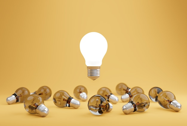 혁신 지식으로 노란색 파스텔 배경에 다른 아이디어