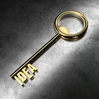 Idea - gold key on black metallic background. 3d rendering