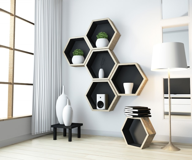 Idea of hexagon shelf wooden design on wall on livingroom modern zen style
