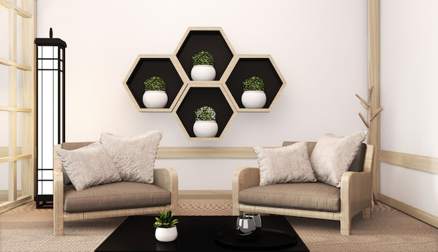 Idea of hexagon shelf wooden on wall and arm chair japanese style on tatami mat. 3d rendering