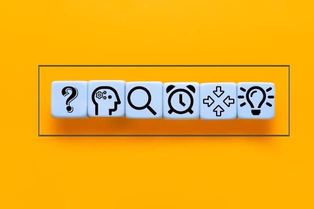 큐브 생각, 분석, 연구, 정보 수집에 대한 아이디어 아이콘
