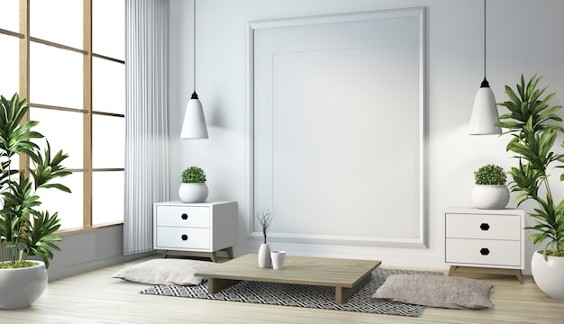 Idea of japanese living room with lamp, frame, black low table in room white wall on floor wooden. 3d rendering