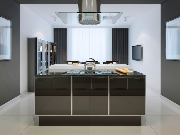 Idea of kitchen island at modern kitchen and multifunctional working surface in black and white.