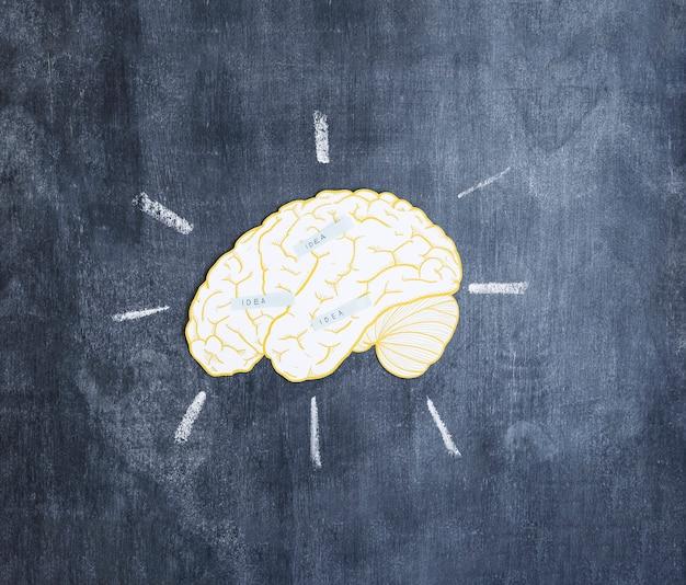 칠판에 뇌 위에 아이디어 레이블